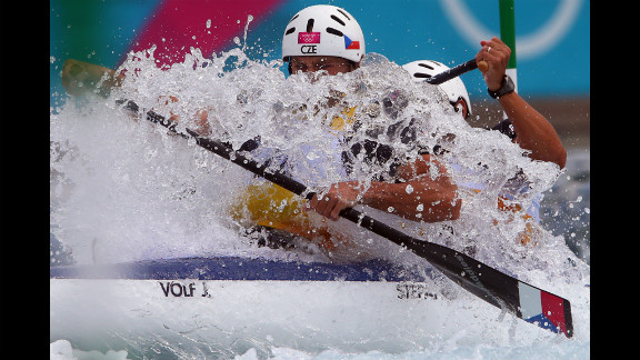 Jaroslav Volf, left, and Ondrej Stepanek of Czech Republic compete during the men