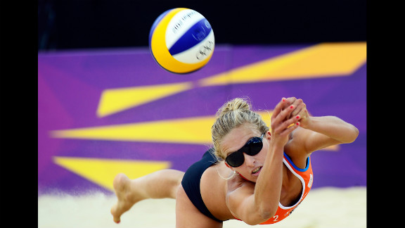 Sophie van Gestel of the Netherlands controls the ball during the women