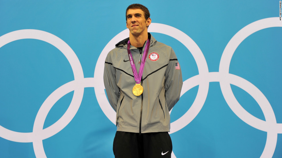 U.S. swimmer Michael Phelps on the podium after winning the men's 200-meter individual medley in the London Olympics.