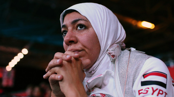 Shaimaa Elgammal of Egypt watches from the sidelines during a women