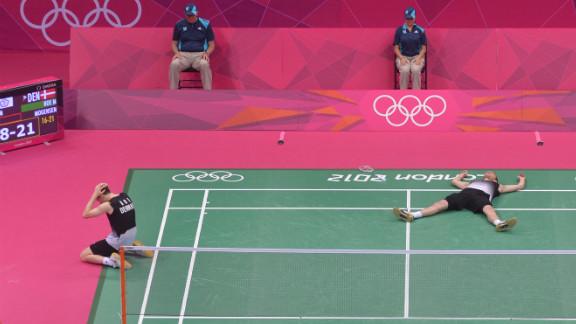 Mathias Boe, left, and Carsten Mogensen of Denmark celebrate their victory over Taiwan during the semifinal men