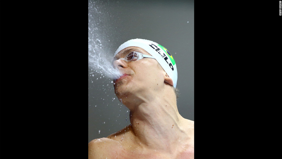 Cesar Cielo of Brazil reacts after finishing in the men's 50-meter freestyle heat eight.