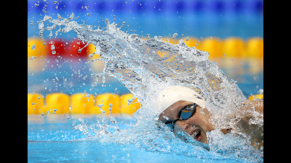 Katie Ledecky of the United States competes in a women