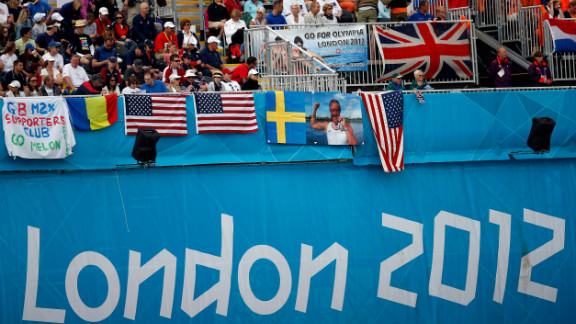 Fans fill the stands for rowing events at Eton Dorney in Windsor, England.