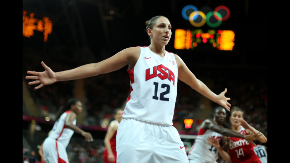 Diana Taurasi of the United States defends the inbound pass in the women