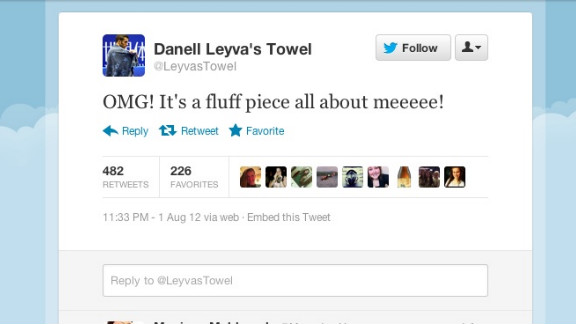Not everyone can get close to bronze-medal winning U.S. Olympic gymnast Danell Leyva. But his signature towel, which Leyva sometimes wears over his head between events, can. Tweeting from the Twitter handle @LeyvasTowel, the towel lets the Internet know who's the TRUE fan of the Games. Followers: 12,549