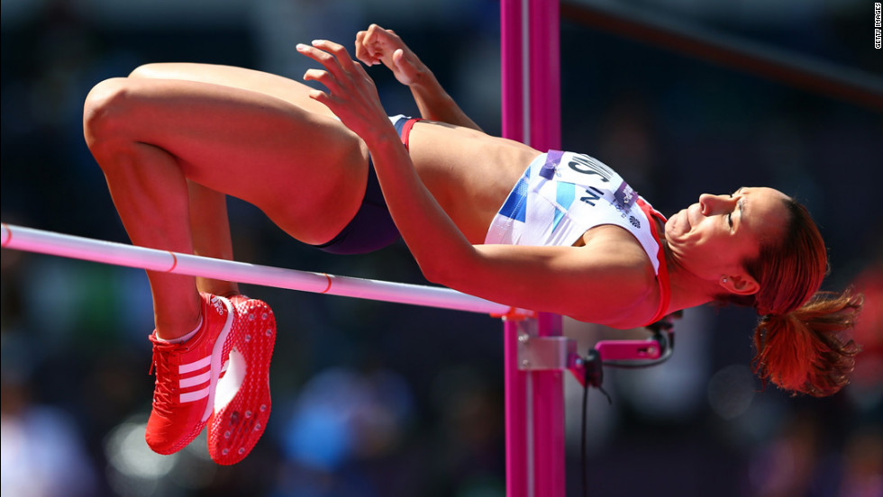 Jessica Ennis of Great Britain competes in the women's heptathlon high jump.