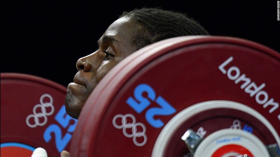 Cameroon's Madias Dodo Nzesso Ngake competes in the women's 75-kilogram weightlifting event.