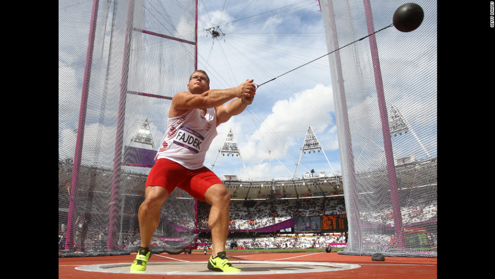 Pawel Fajdek of Poland competes in the men's hammer throw qualification.