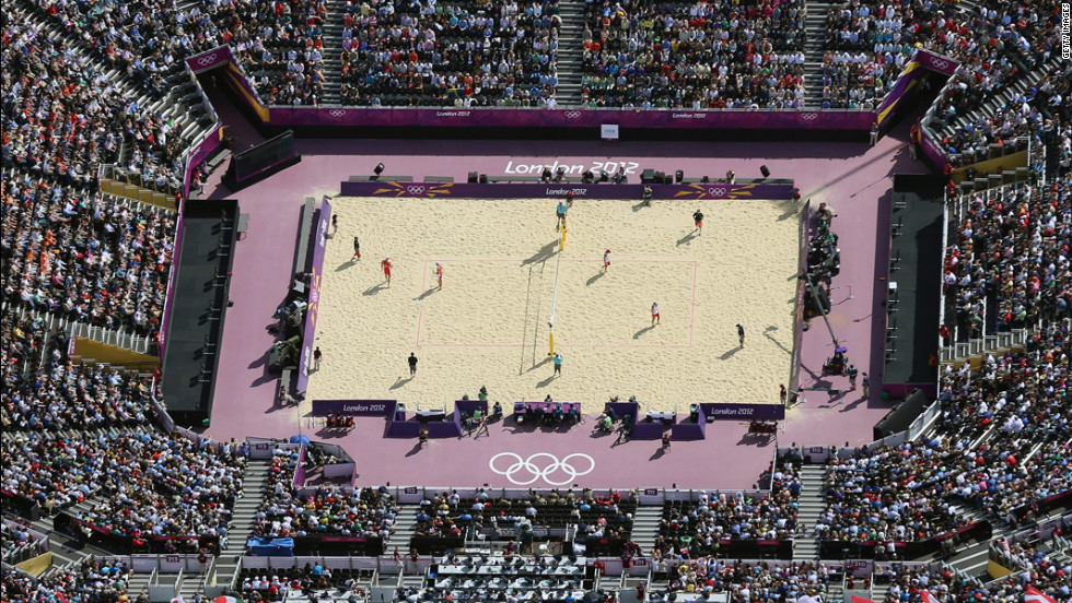 An aerial view shows the beach volleyball venue at Horse Guards Parade in London.