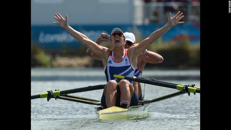 Britain's Katherine Grainger and Anna Watkins celebrate after winning gold in the women's double skulls.
