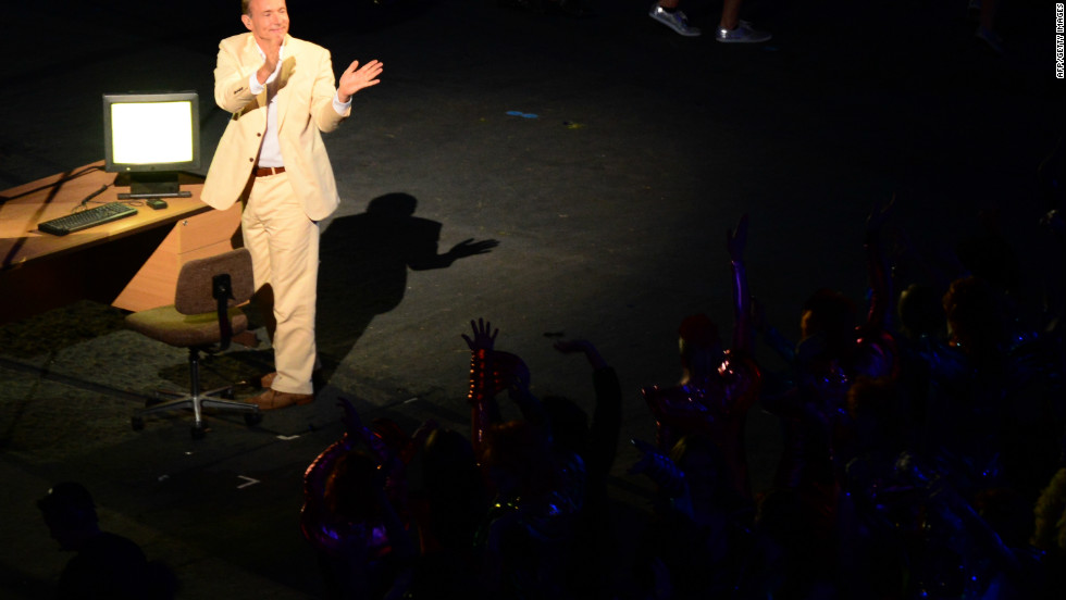 Berners-Lee addresses the stadium during his iconic performance at the 2012 London Olympics opening ceremony.