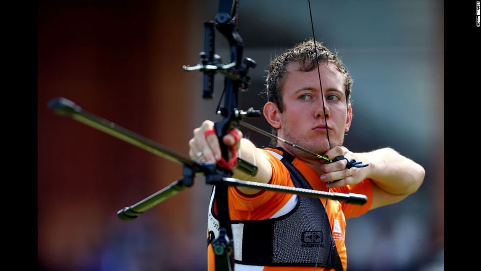 Rick Van Der Ven of the Netherlands competes during the men's individual archery semifinal.