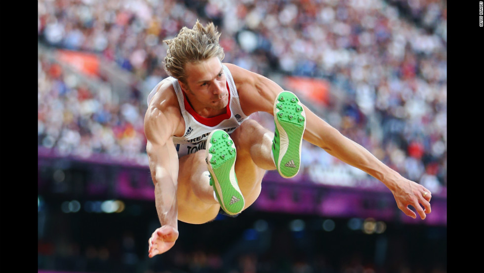 Great Britain's Christopher Tomlinson competes in the men's long jump qualification on Day 7 of the London 2012 Olympic Games.