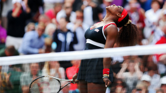 Serena Williams reacts after defeating Maria Sharapova of Russia to win the gold medal in women