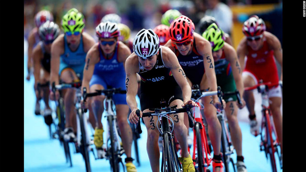 Germany's Anne Haug competes in the cycling leg of the women's triathlon.