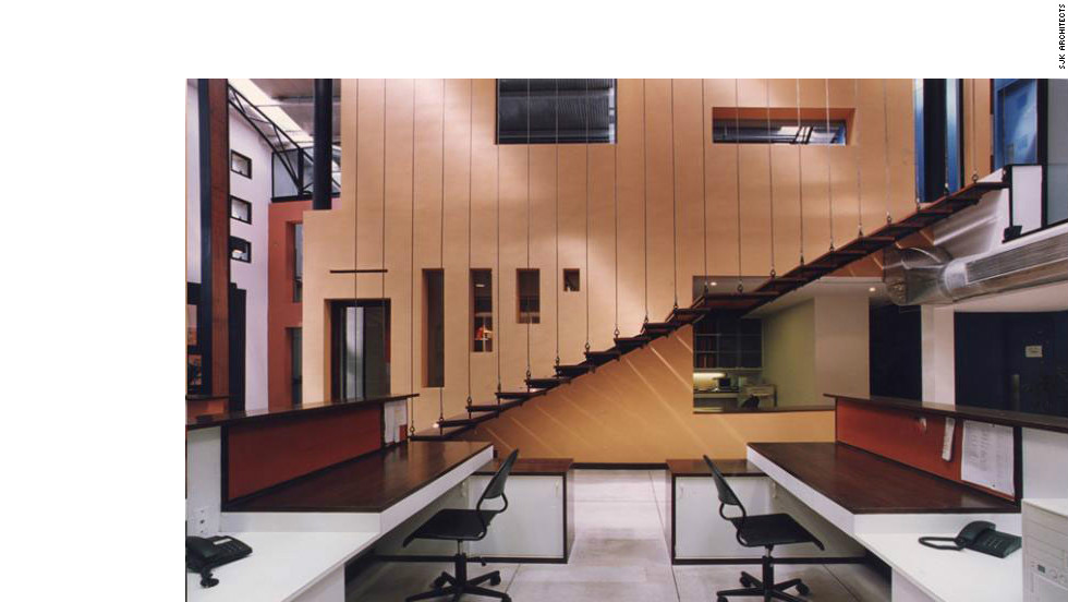 SJK Architects designed this Mumbai office by converting a warehouse.