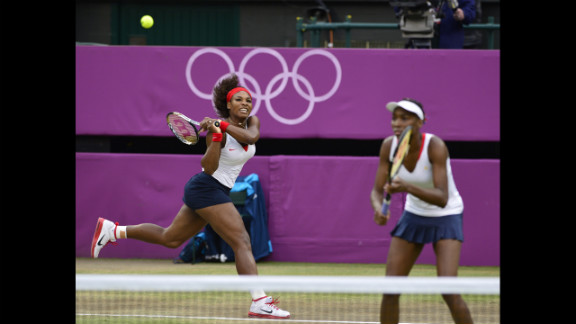 Serena Williams, left, and Venus Williams play the Czech Republic