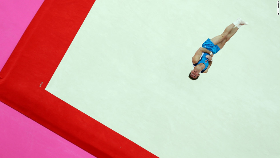 Enrique Tomas Gonzalez Sepulveda of Chile soars above the floor during the artistic gymnastics men's floor exercise final.
