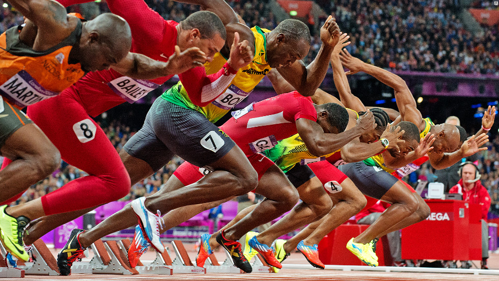 On Sunday it was the turn of the men, as seven sprinters tried to outstrip the jet-heeled Jamaican Usain Bolt.
