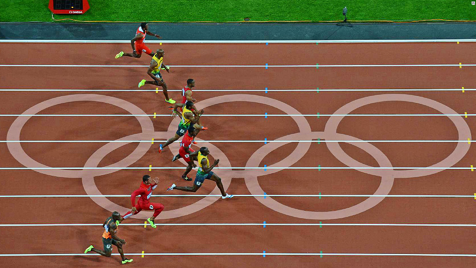 From the halfway-point in the race, Bolt began to streak away. He was attempting to go below his own world-record of 9.58 seconds.