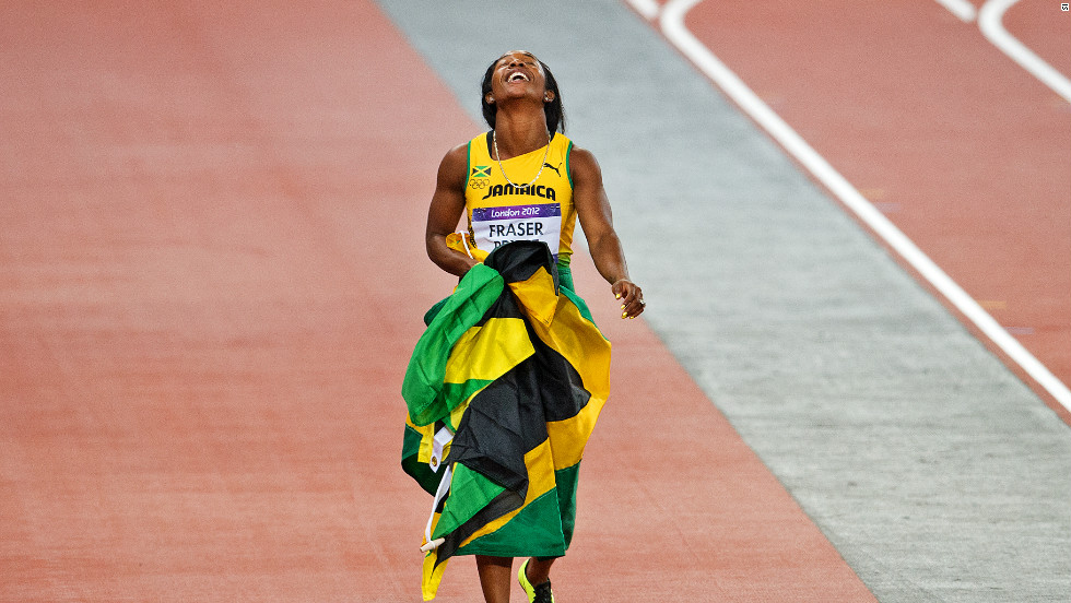After the intense competition, Fraser-Pryce, draped in the Jamaican flag, was able to savor her victory.