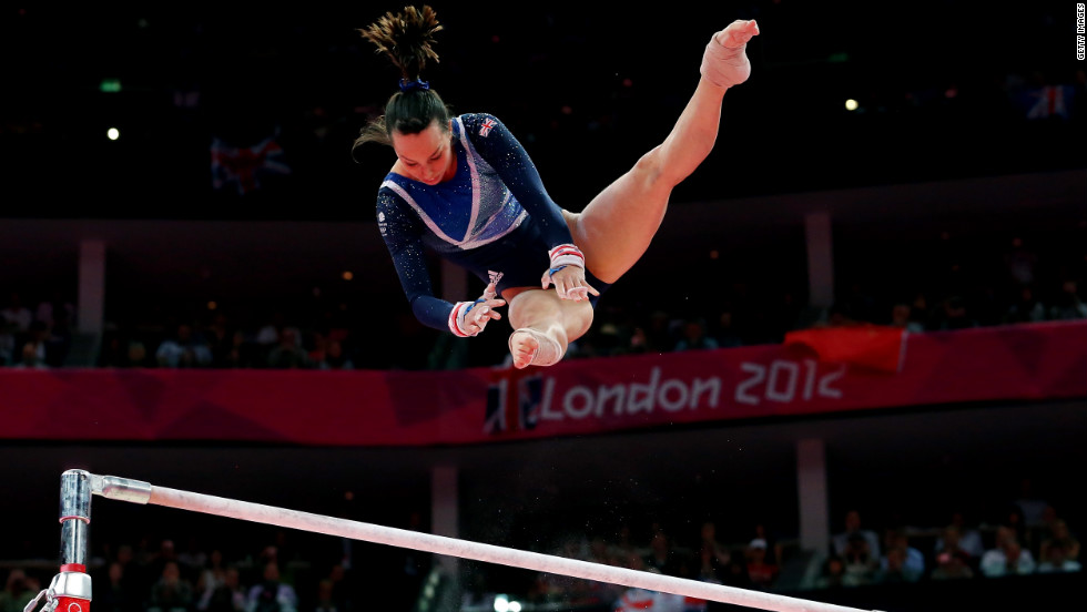 Elizabeth Tweddle of Great Britain competes in the women's uneven bars final on Monday, August 6.