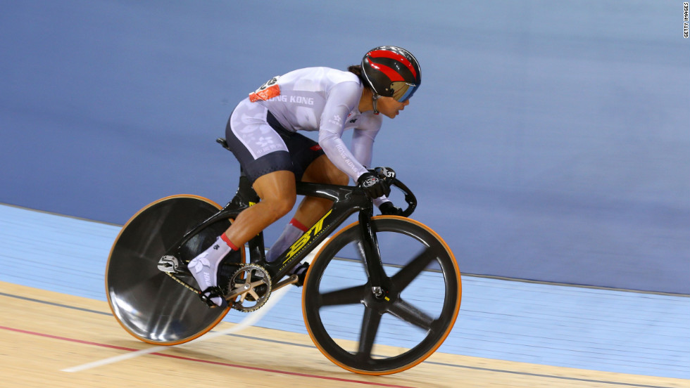Wai Sze Lee of Hong Kong competes in the Women's Sprint Track Cycling 1/16 Finals on August 5.