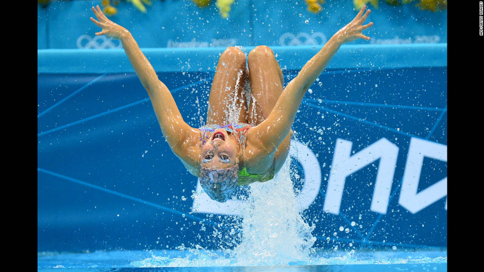 Brazil's Nayara Figueira competes in the duets synchronized swimming free routine preliminary round.