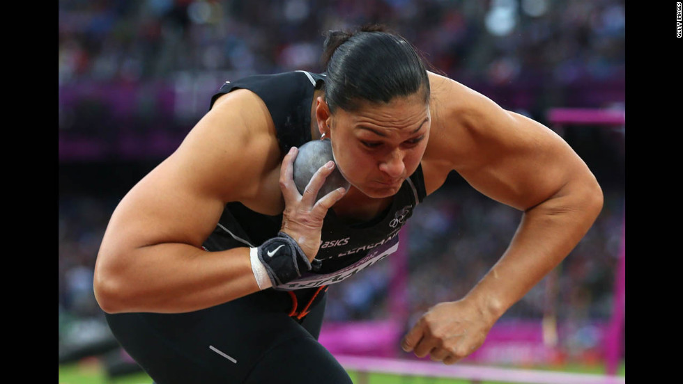 Valerie Adams of New Zealand competes in the women's shot put final.