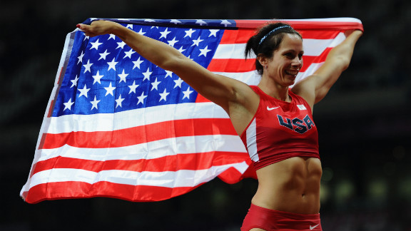 Jennifer Suhr of the United States celebrates winning the gold medal in the women