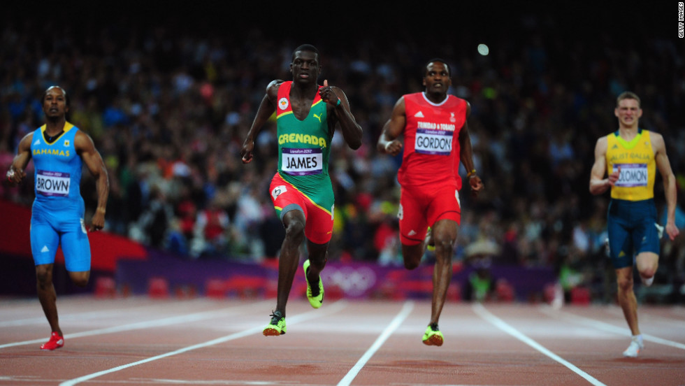 Kirani James of Grenada leads the field to win the men's 400-meter final.