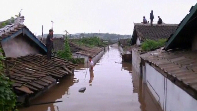 Rare video of floods in North Korea