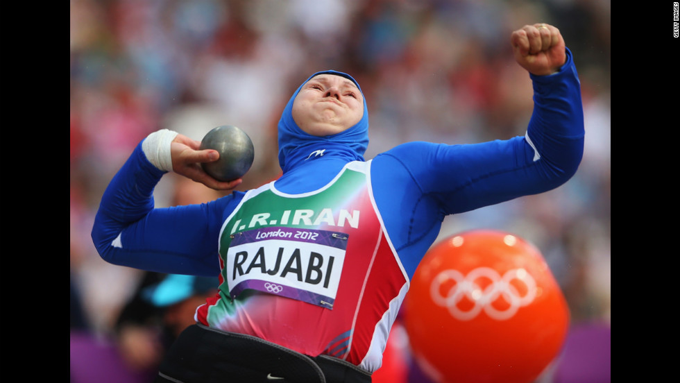 Leyla Rajabi of Iran competes in the women's shotput qualification round.