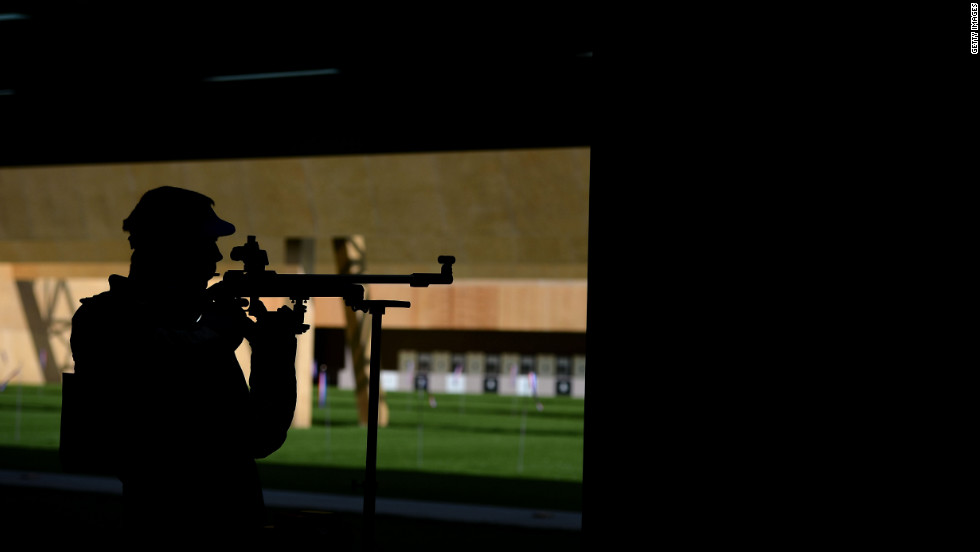 Bojan Durkovic of Croatia takes aim during the men's 50-meter rifle three-position shooting event.