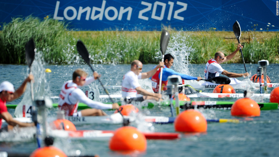 Athletes compete in the men's kayak single (K1) 1,000-meter canoe sprint semifinal event.