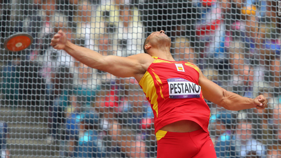 Mario Pestano of Spain competes in the men's discus throw qualification on Monday.