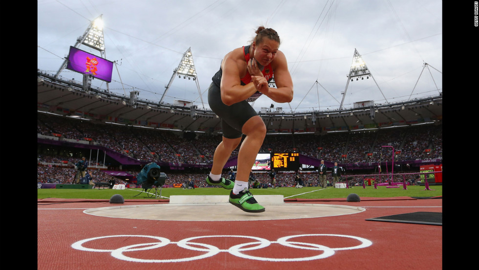 Germany's Christina Schwanitz prepares for shot put during the final.