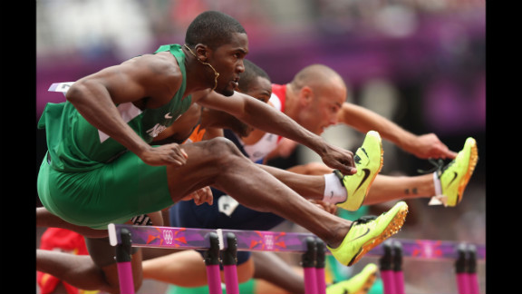 Left to right: Selim Nurudeen of Nigeria, Gregory Sedoc of Netherlands and Andrew Turner of Great Britain compete in the men