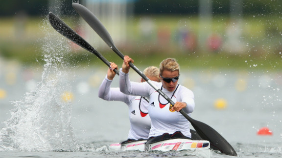 Franziska Weber, front, and Tina Dietze of Germany compete in the women