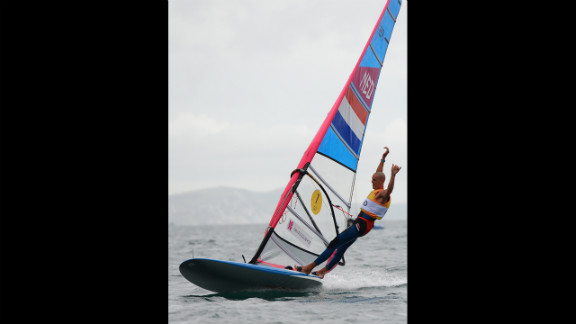 Dorian van Rijsselberge of the Netherlands celebrates after winning the gold medal in the men