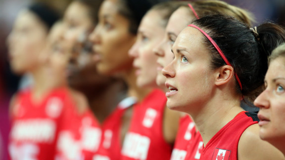 Shona Thorburn of Canada stands for the Canadian National Anthem before the women