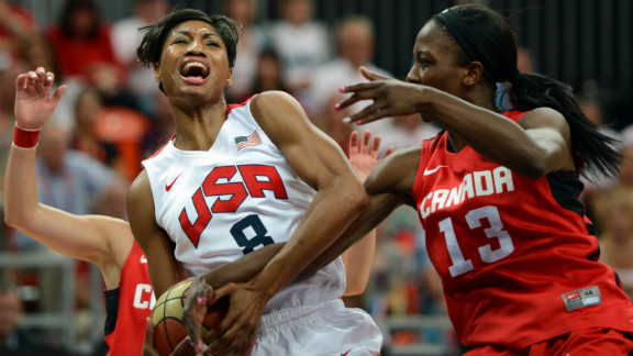 U.S. guard Angel McCoughtry, left, competes against Canadian forward Tamara Tatham during the women