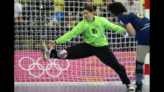 Croatian goalkeeper Ivana Jelcic attempts to block a goal during the women