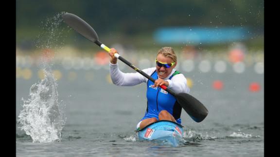 Italian kayaker Josefa Idem races in the women
