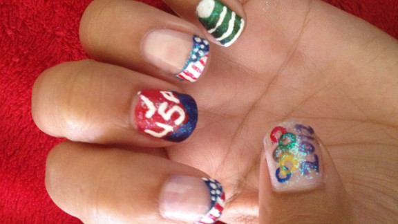 Silva shows off another of her designs, complete with a unique American flag French manicure.