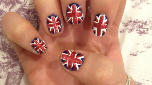 """Siobhan Durkin of Birmingham, England, turned her nails into 10 little Union flags to """"get behind my country"""" in the Olympics. She's been into nail art for about a year."""