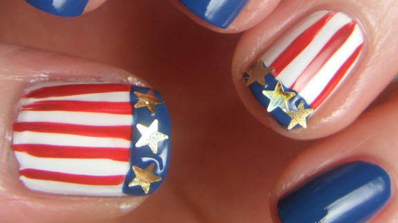"""American swimmer Missy Franklin's nails inspired this patriotic design by Allison Fitzpatrick. """"Nail art is a great way to feel like you are part of the Games,"""" said the Charlotte, North Carolina, resident."""
