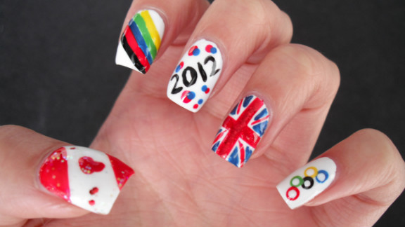 """Jayne Lim designed her manicure to represent her home country of Canada and her host country, Great Britain. """"What better way to celebrate and show support for the London Olympics than with nail art?"""" said the Vancouver resident. """"It lasts longer [and] is more subtle than face paint, and I can't be wearing Olympic regalia 24/7!"""""""