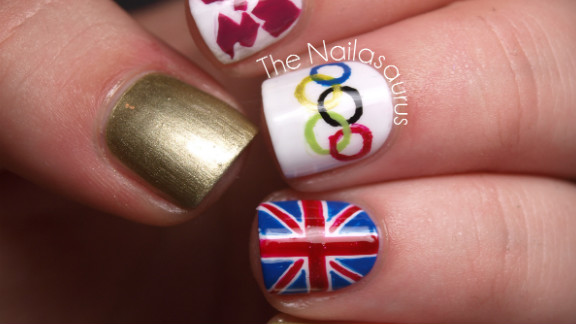 """Samantha Tremlin also wanted to show support for her home country of Great Britain. It took her about an hour to paint this manicure that features the Olympic rings, Union flag and logo for London 2012. """"It feels as though the Games have united every single person in the country with all the excitement and pride we're feeling. The opening ceremony was just fantastic and made me so proud to be British,"""" she said."""